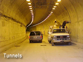 Lighted Mining Tunnel with Cars
